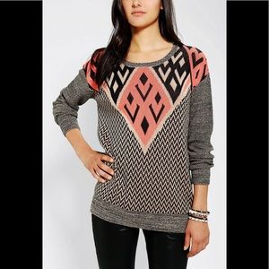 URBAN OUTFITTERS ecote Aztec Zig Zag Sweater